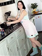 Kitchen hairy mature Amber Lustful
