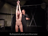 French slave bondage punished for having slutty hairy pussy